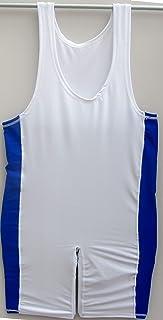 Shihan 摔跤服莱卡-蓝色条纹大紧身衣 花式服装 男女体操汗衫