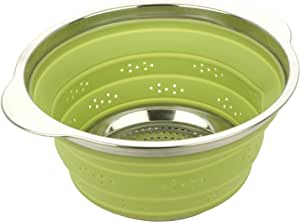 MIU France Collapsible Silicone Colander with Stainless Steel Rim, Green