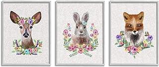 Stupell Industries 可爱森林生物花卉花环细节 Lisa Lane 灰色框架墙壁艺术,3 件,每件 11 x 14