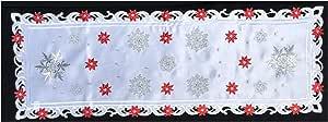Brilliant Home Design 经典刺绣圣诞桌巾特色是闪耀银色雪花和尖头饰,镂空地毯带有闪闪发光的装饰银线 15'' x 72 ''
