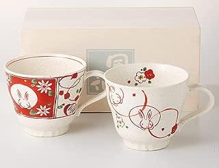 (Ale-net) 红色 φ9.5×8.5cm 300ml 红彩花兔子 对 马克杯