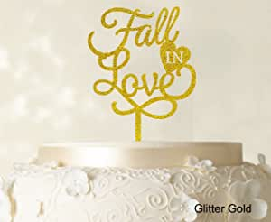 "Printtoo""Fall In Love""婚礼蛋糕装饰个性化闪亮黑色蛋糕装饰可选宽 15.24cm-17.78cm Glitter Gold (Design-1) 6""-7"" Inches CATO105-X"