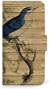手机保护壳翻盖式适用于所有机型木纹 Wood 鸟  A 4_AQUOS SERIE (SHL25)