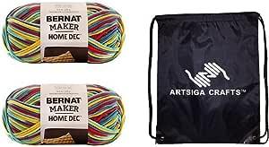 Bernat Maker Home Dec Yarn (2-Pack) Fiesta Variegate 161211-11014 with 1 Artsiga Crafts Project Bag