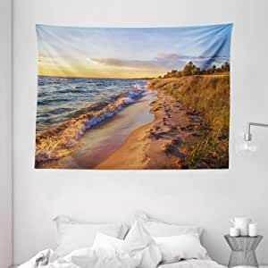 Coastal Tapestry by Ambesonne, Sandy Calm Beach Ocean Waves Tranquil Seashore Setting Sun, Wall Hanging for Bedroom Living Room Dorm, 80 W X 60 L Inches, Light Blue Light Yellow Light Brown