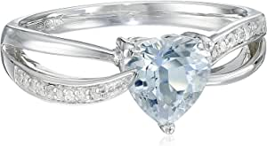 10k White Gold Aquamarine and Diamond Accented Heart Ring, Size 7