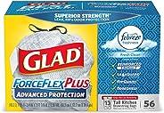 Glad ForceFlexPlus 高级保护加长厨房拉绳垃圾袋 - Febreze 清新清洁 - 13 加仑 - 56 支(包装可能有所不同)