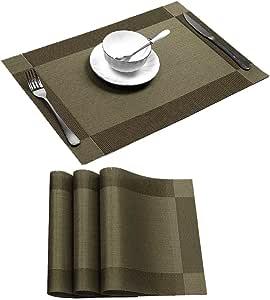餐垫,防污可水洗 PVC 桌垫防滑可洗咖啡垫,交叉编织乙烯基耐热厨房餐桌垫 咖啡色 4