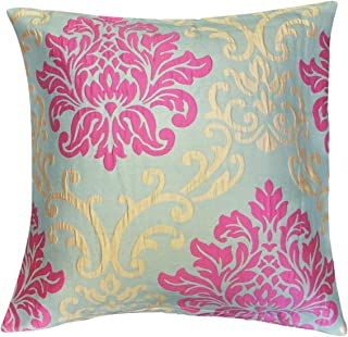 Kella Milla Regal Damask Throw Pillow Cover, Grey Magenta