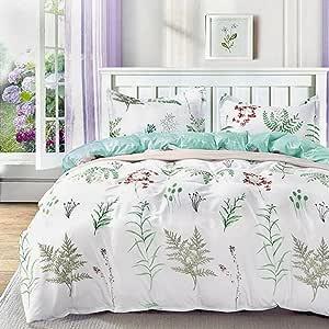 NANKO 床上用品羽绒被套装中号双人床,3 件套 1200 股花朵低*超细纤维羽绒被被套,拉链和领带,适合女士和男士?¡¥s 卧室,豪华客房装饰 Teal Herbs Queen