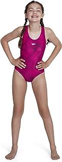Speedo 速比涛 女童 Boom Allover Splashback 连体泳衣,26,Electric Pink/Black
