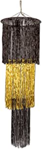 Beistle 1-Pack 3-Tier Shimmering Chandelier, 4-Feet, Black and Gold