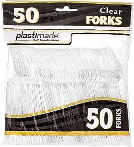 塑料餐具重型透明塑料叉子 50 个叉子套装 PCF2450C