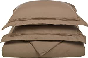 LUXOR TREASURES Super Soft Light Weight, 100% Brushed Microfiber, King/California King, Wrinkle Resistant, Taupe Duvet Cover with 5-Line Embroidery Pillowshams in Gift Box