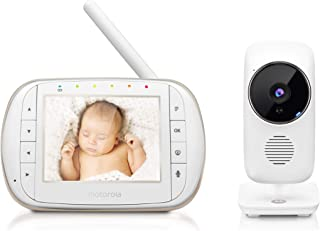 Motorola 智能视频婴儿监视器带 Wi-Fi 和 3.5 英寸彩色 LCD 家长设备,夜视,双向音频,房间温度显示和 5 根摇篮曲,MBP668CONNECT