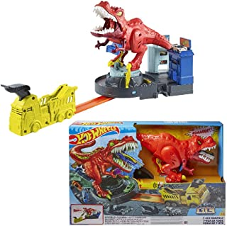 Hot Wheels GFH88 City T-Rex Rampage 恐龙轨道装置玩具车,适合5岁以上