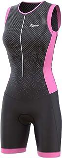 KONA Elite 女式铁人三项比赛服 - 快装紧身裤 三件套无袖 - 一件式背心和短款组合,人体透气