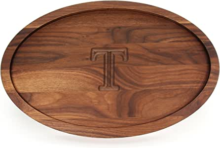 """CHUBBCO W420-T Oval Trencher Carving Board, 15-Inch by 24-Inch by 1.75-Inch, Monogrammed """"T"""", Walnut"""