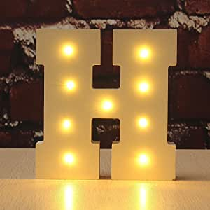 CHUQ 发光字母木制字母 A-Z 礼品盒式姓名婚礼派对站立或壁挂式装饰 H