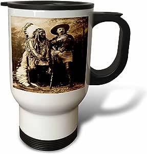 场景 from THE past 复古明信片–sitting 公牛和 BUFFALO BILL 1895深褐色–旅行马克杯 白色 14 oz