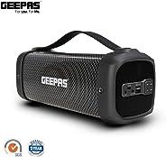 Geepas 可充电蓝牙扬声器,带来卓越音效 - 带 RGB DJ 灯、USB、收音机和 10 米工作范围,长达 5 小时播放时间 - 2 年保修