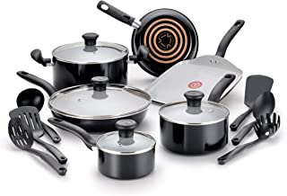 T-fal Initiatives Ceramic Nonstick Cookware Set 黑色 16-Piece