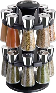 Cole and Mason Herb and Spice Carousel Rack with 16 Glass Jars and Spices