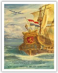 "Une Belle 传统(美丽的传统)- 飞的荷兰人和洛克希德星座(""Connie"")- KLM Royal Dutch Airlines(松斯·Aériennes Royales Néerlandais)- Joop H. van Heusden 创作的复古航空公司旅行海报 - 精美艺术印刷品 11"" x 14"" APB4244"