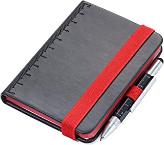 TROIKA LILIPAD+LILIPUT – NPP25BK/RD – 记事本 DIN A7包括圆珠笔 – 笔记本笔架,日记本,笔记本 – 弹性带 – 标尺(10厘米)– FSC纸张,穿孔,点网格