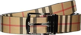 Burberry 巴宝莉 皮带 8015613 复古格子 两面可用 帆布 皮革 真皮
