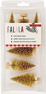 """Fa La La Wire Brush Trees 6/Pkg-Gold Glitter, (3) 2.25"""" & (3) 2.75"""""""