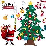 AMASKY 毛氈圣誕樹,9.53 米 DIY 圣誕樹,29 件圣誕禮物圣誕老人裝飾墻壁裝飾帶掛繩,適用于家庭門裝飾