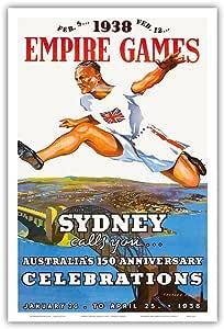"""太平洋岛艺术 1938 年英国帝国游戏 - 悉尼呼叫你,澳大利亚 150 周年庆祝活动 - Charles Meere 复古运动海报 1938 年 - 艺术大师印刷 12"""" x 18"""" PRTB3233"""