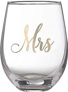 Lillian Rose G115 MS Gold Mrs. Stemless 酒杯,容量 453.59 毫升,黄色
