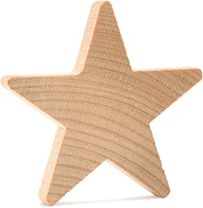 Woodpeckers 木质星星,天然未抛光木制星镂空形状(3/4 英寸) 100 str-3/4-100