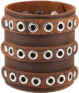 HZMAN 男式宽带袖口皮革手镯朋克摇滚手工制作可调节棕色腕带