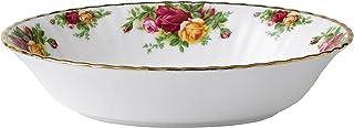 Royal Albert 乡村玫瑰印花开放碗具,椭圆形,多种,白色,中国骨,23厘米