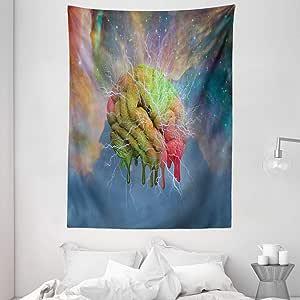 迷幻挂毯 ambesonne , Magic *背景 Effects 神秘自然艺术与霓虹灯图像,壁挂适合卧室客厅宿舍,*蓝黑色