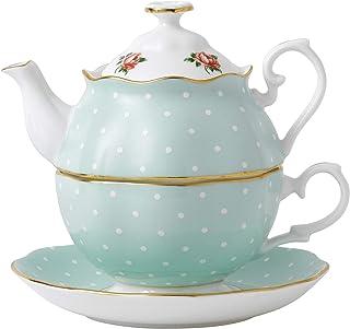 Royal Albert Tea for One玫瑰茶壶,多为绿色,波尔卡圆点多色印花
