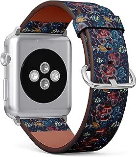 (时尚的刺绣章鱼、海浪和热带鱼图案。) 图案皮革腕带适用于 Apple Watch 系列 4/3/2/1 Gen,适用于 iWatch 42mm / 44mm 表带
