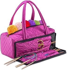 DeNOA 针织和缝制绗缝储物肩包 - 便于携带纱线和针配件手提袋 带口袋 兰花紫色 KB02PRN