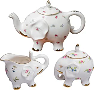 Grace Teaware 精细陶瓷快乐大象 Petite Floral Spray 3-Piece Tea Set CM461AK-FD41/3