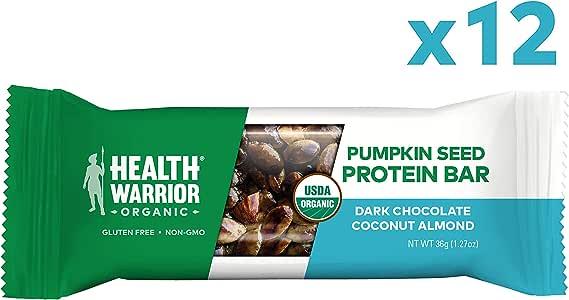 Health Warrior Pumpkin Seed Protein Bars, Dark Chocolate Coconut Almond, 8g Plant Protein, Vegan, Gluten Free, Certified Organic, 12 Count