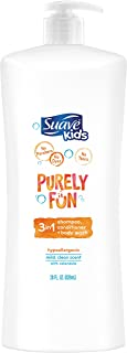 Suave 丝华芙儿童三合一洗发露、护发素和沐浴露,纯粹有趣,28盎司(4件装)