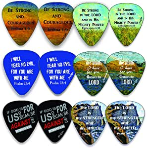 Christian Guitar Picks (12 只装) - Be Strong - Jeremiah 29:11 - Celluloid 中号 - Best Stocking Stuffers for Thanksgiving Christmas Birthday Music Ministry - Worship The Lord Excitedly
