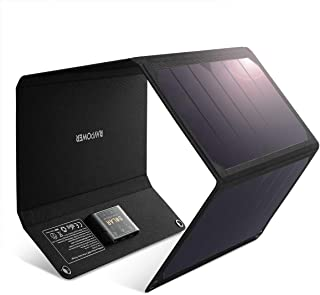RAVPower 太阳能充电器 28W 太阳能电池板带 3 个 USB 端口防水可折叠露营旅行充电器兼容 iPhone Xs XS Max XR X 8 7 Plus、iPad、Galaxy S9 S8 Edge Plus、Note、LG、Ne...