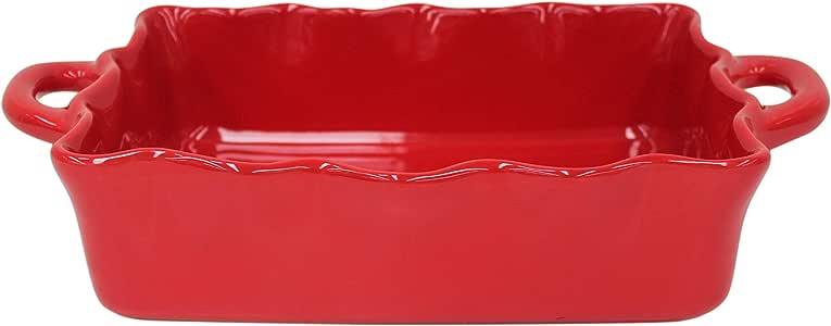 "Casafina 陶瓷烹饪和主机系列褶边烤箱砂锅 红色 Medium Rect. 13.5"" 619642-RFF330-RED"