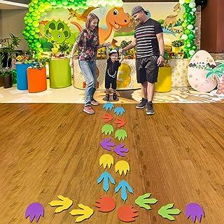 20 件恐龙和怪物足迹跳跃地板贴花,彩色恐龙镂空怪物足迹装饰,可移除恐龙轨道贴纸,适用于儿童恐龙派对装饰、学校游戏室等