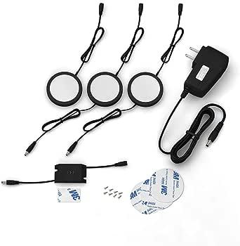 EShine 黑色哑光橱柜冰灯带手波传感器 - 圆形 LED 橱柜灯 - 可调光 冷白色 (6000K) 3 Pack