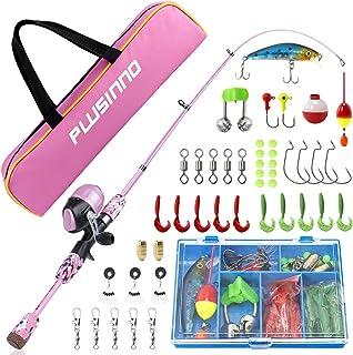 PLUSINNO 儿童钓鱼竿带抛投式渔线轮伸缩钓鱼竿组合全套套件,男孩、女孩和成人